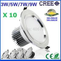 10pcs European American design led lights 3w 5w 7w 9w led downlight silver shell Cool/Warm white luminaire spot led lamps light