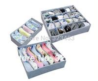 Free Shipping 3 piecesset,foldable box /Bamboo Charcoal fibre Storage Box for bra underwear necktie socks