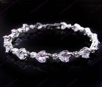 Jewellery fashion zircon women's 14KT white Gold Filled Bracelets Cubic Zirconia bracelets