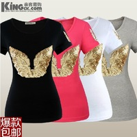 HK Paillette women's o-neck short-sleeve T-shirt women's cotton t shirts summer K0001