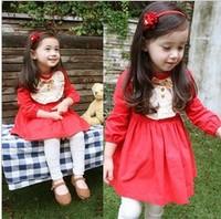 Freeshipping 2012 new spring clothing han female children's wear nifty princess little red dress, girl long-sleeved dress
