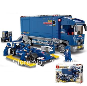 Free shipping! Sluban 641pcs/set Children's DIY educational F1 racing truck and racing car block toys