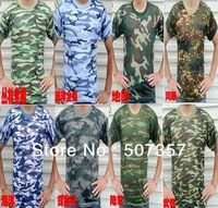 freeshipping! 2014 Wholesale round neck short-sleeved T-shirt / summer camouflage military training
