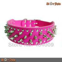 Full Spikes Studded Rose Leather Dog Pet Collars for Pit Bull Dog Boxer German Shepherd