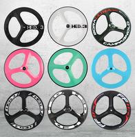 Carbon track bicycle wheel 70mm tri spoke,carbon rear bike carbon wheels 3 spokes 700c