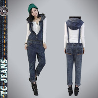 [TC Jeans] 2014 jeans jumpsuit for women clothing eurasian handsome hooded one piece bib pants jeans four seasons women pants