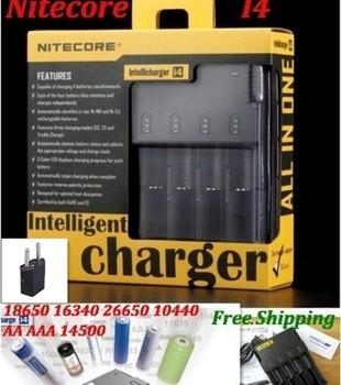 Nitecore I4 Intelligent  Automatic Charger 18650 16340 26650 10440  with Charging Cable+1PCS EU Plug Convertor+1pcs car charger