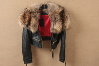 Women's short coat genuine sheep skin  with big raccoon D2 collar square female 2 Golden zipper leather coat