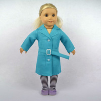 """Free shipping!! Doll Clothes fit for 18"""" American Girl Dolls, dustcoat with belt and socks,3pcs, girl birthday present gift, A06"""