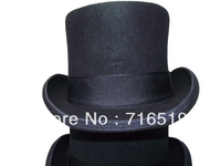 Special promotions  New Black  top hats felt 100% wool with 13CM height and white lining  for party with ribbons for wholesale