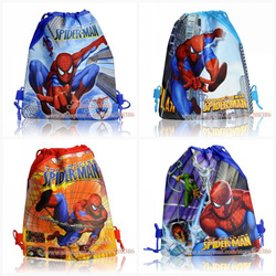 Mixed 4 pcs/lot Spiderman designs kids Cartoon Drawstring Backpack Bag,Non-woven 34*27CM Kids travel backpack bags(China (Mainland))