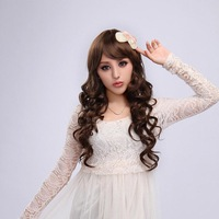 Free shipping  whole sales  chinese body water wave lace front wig full bangs on sales
