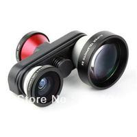 Telephoto 5x  fisheyle Macro Fish Eye Self-timer Fish Eye 4 in 1 Lens Camera For iPhone 5 5s