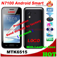 N7100 Android With Leather Case 4.0 inch Capacitive Screen WIFI GSM MTK6515 CPU 1GHZ RAM 256M Dual SIM Card Free / Drop Shipping