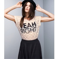 "wholesale ""Yeah right"" letter print women's shirts roll up hem shallowly pink lace slim blouses for women 2013  T524"
