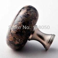 3pcs Designer Knobs and Handles,40mm Tropical Brown Granite Bedroom Furniture Knob,Brass Base,Satin Nickel Finish,Free Shipping