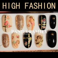 Professional custom Nail art nail decoration Full cover false nails Retro court free shipping