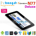 "In stock! free shipping 7"" android tablet pc Sanei N77 Deluxe allwinner 1GHz RAM 512MB DDR3 ROM 8GB dual camera+free shipping"