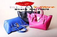 FREE SHIPPING leather women handbags hot style black leather messenger bag quality brand designer smiley face shoulder bag