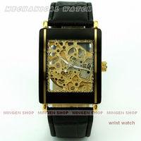 MINGEN SHOP - Elegant Golden Square Skeleton Automatic Mechanical Men Business watch U138