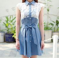 [ TC ] New 2014 women clothing high waist denim dress spring summer dress casual jeans women dress sweet lace dress princess