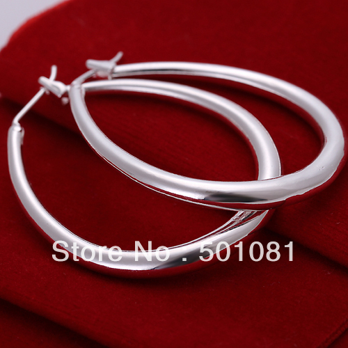 SQER080/Free Shipping Wholesale Huge Exaggerated 925 Sterling Sislver Plated Large Hoop Clasp earrings,Earrings Fashion Items(China (Mainland))