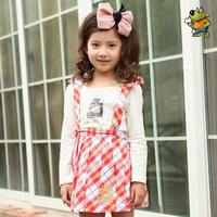 Freeshipping summer red yellow plaid Children child Girl Kids baby lady  princess cotton skirt with shoulder-straps WMBQ111019