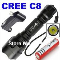 3000mAh UltraFire explore/Tactical Torch  C8 CREE Q5 Flashlight 5 change mode (EU US AU Charger  plus 1x 18650 battery) lamp