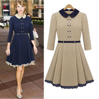 Women Spring Autumn Apparel Elegant Vintage Peter Pan Collar with Belt Hollow Out Winter Dress Free Shipping JB121475