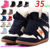 Wholesale Isabel Marant Wedge Fashion Sneakers,Blue White Pentagram Velcro,Women's Shoes,EU 35~42,Height Increasing 6cm,No Logo