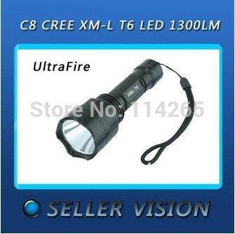 Hi-capacity power product Tactical Torch lighting Flashlight UltraFire C8 CREE T6, 18650, lamp 982