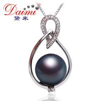 Pearl  Demi 10-11mm natural Black Tahitian Pearl 925 Silver Pendant Unique Design