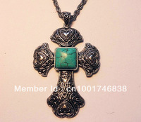 Cross/croix classic Necklace , - Blue turquoise stone Cross Pendant,  925 plated tibet siler Necklace,Adjustable Length