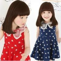 2013 New Lace collar dresses girls sleeveless dress baby one-piece dresses 5pcs free ship 630241J