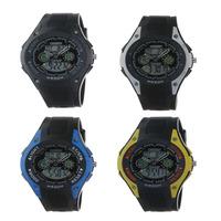 WholesalePro Ohsen Unisex Dual Time WR 30M Shock Reset Alarm Clock Black Dial Week Date Sport Watch Free Shipping