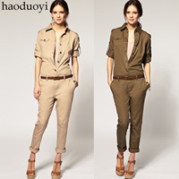 Free Shipping! Fashionable New Cotton Frock Cool Jumpsuit Slim Trousers Rompers Army Green Denim