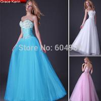 Grace Karin Beaded White/Blue/Pink Evening Dress Long Corset-style Sweetheart Prom Dance Party Formal Gown vestido de festa 3519