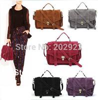 New Celebrity fasion Vintage Gossip Girl Faux Suede Briefcase Women Messenger Bags Women bags Shoulder Tote Handbags Free ship