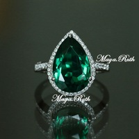 Synthetic Emerald Ring Green Color Gemstone Sterling Silver White Gold Plated Micro Setting Jewelry Female's Gift Free Shipping
