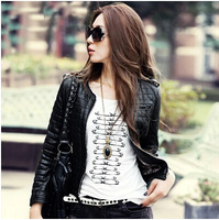 Free Shipping! 2015 Spring New Fall Korean Plaid Motorcycle leather Short Slim PU Leather Women Jacket 1152