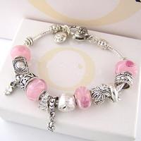 B2 / Free shipping Charm Chamilia bracelet 925 sterling silver crystal Pink bracelet for woman silver chamilia beads bracelets