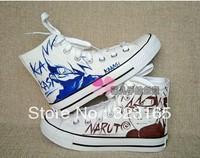 2013 customize fashion sneakers Naruto Kakashi Hatake anime hand painted high Canvas Men/Women casual shoes