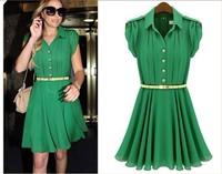 2014 Green New Korea Women's Elegance Bow Pleated Vest Chiffon Dress Round Collar Sleeveless Dress Fashion with belt) S-001