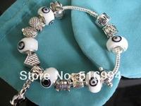 B8 / EYE OF EVIL 925 sterling silver bracelets 925 sterling silver charm bracelet for woman silver chamilia beads bracelets