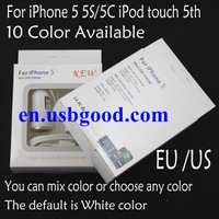 Free shipping EU/US 3 IN 1 charger For iphone 5 5C/5S usb Cable + usb car charger+ USB wall charger Retail Box