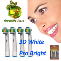 4PCS x 3D BRAUN HEADS  REPLACEMENT TOOTHBRUSH HEADS FOR WHITE PRO BRIGHT 8300 8500 8850