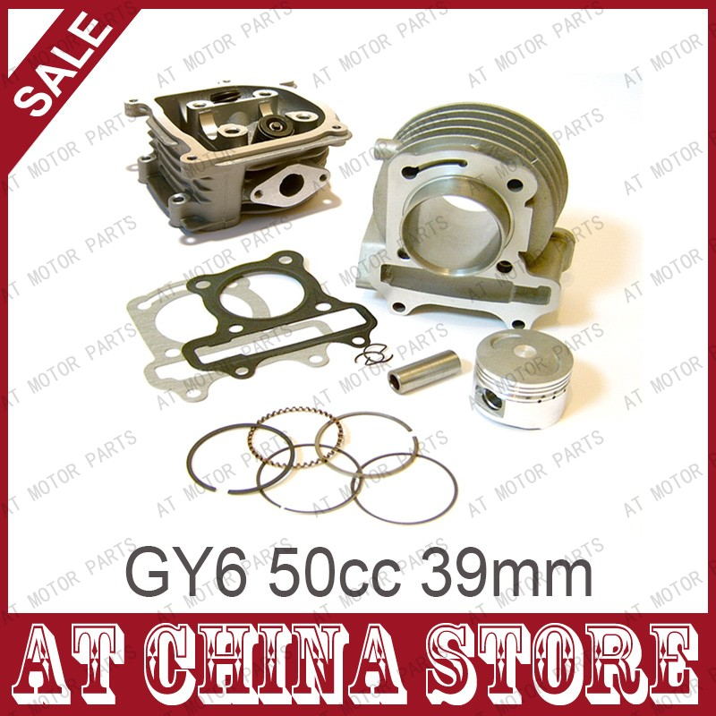 GY6 50cc 39mm Chinese Scooter Engine Rebuild Kit Cylinder Kit Cylinder Head Assy for 4-stroke 139QMB 139QMA Moped Scooter(China (Mainland))