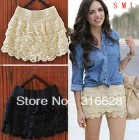HOT! New S M L Girl's Sexy Fashion Mini Lace Tiered Short Skirt Under Safety Pants Lace Shorts Free Shipping