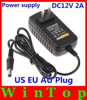 AC100-240V TO DC 12V 2A Power Supply adapter charger for Led Strips Lights 5050 3528 US EU AU UK plug