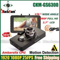 "Ambarella GS6300 Car DVR 2.7"" TFT LCD screen Full HD 1080P Car Recorder with G-Senor GPS 170 degree wide view angle (Russian)"